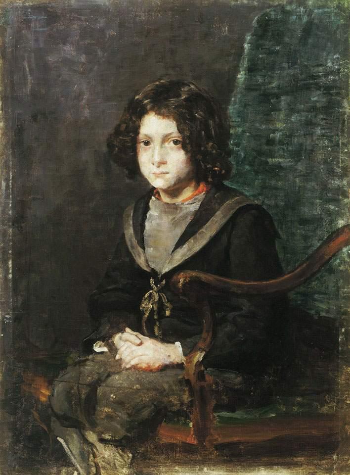 boy-in-navy-dress-ivana-kobilca-slovenian-painting